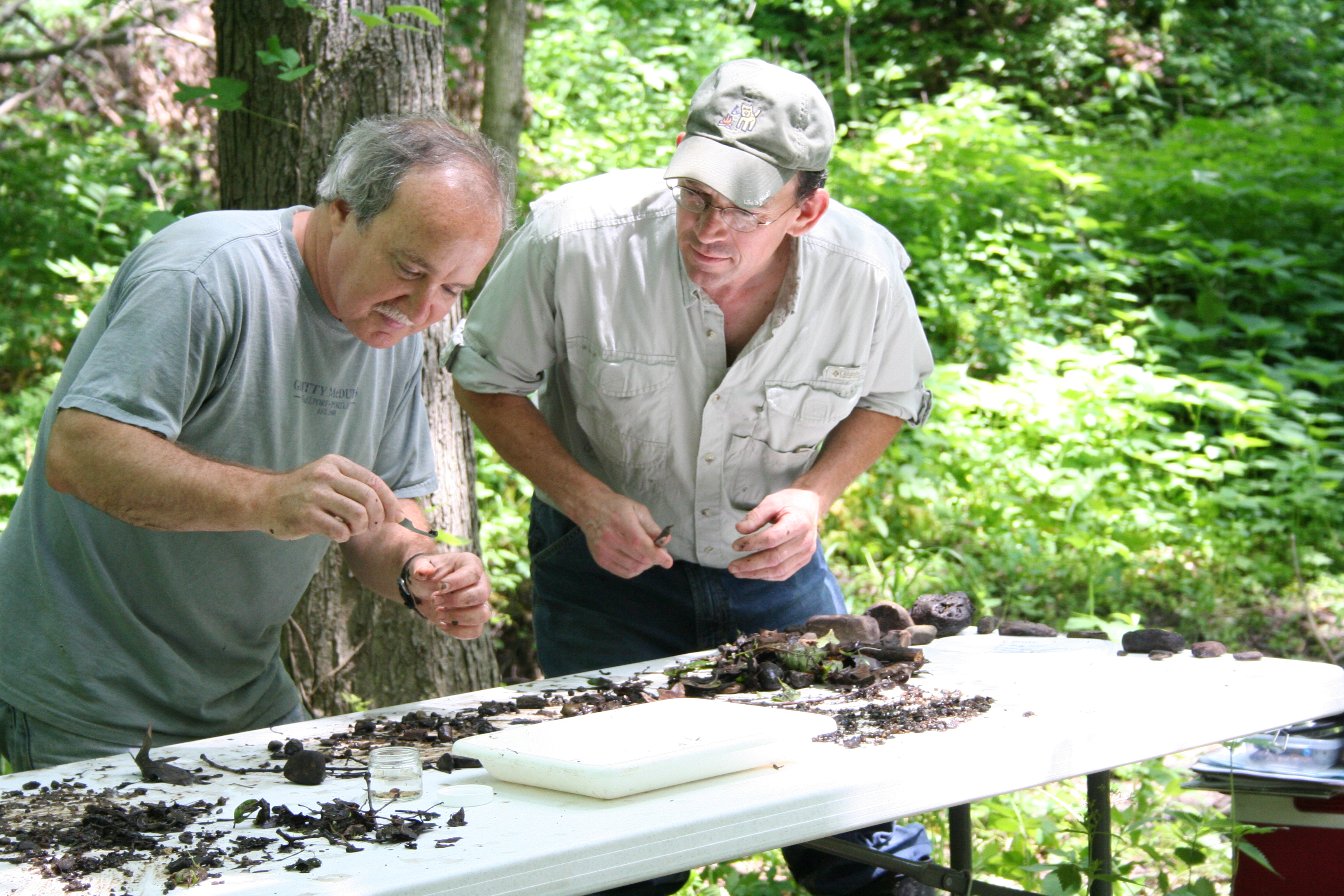 Scott and Bruce collect invertebrates during invertebrate